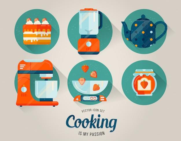 Vector iconos de utensilios de cocina
