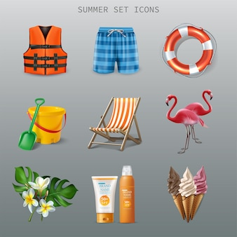 Vector iconos de verano
