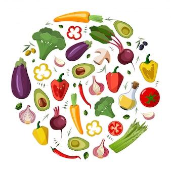 Vector iconos de verduras en estilo de dibujos animados.
