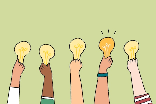Vector de ideas creativas, doodle de bombilla
