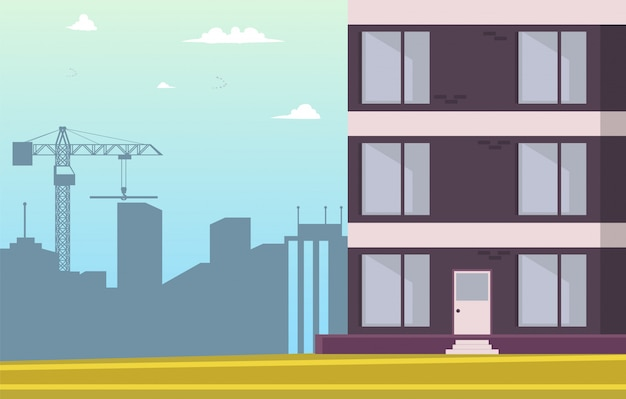 Vector illustration cartoon building new home