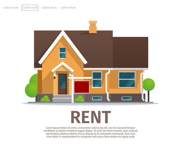 Vector illustration cartoon concept rent house