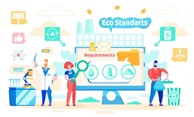 Vector illustration eco standards cartoon flat.