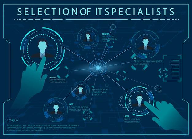 Vector illustration selection it especialistas.