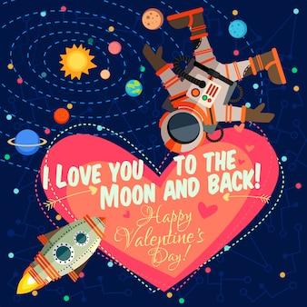 Vector illustrationabout espacio exterior para el día de san valentín.