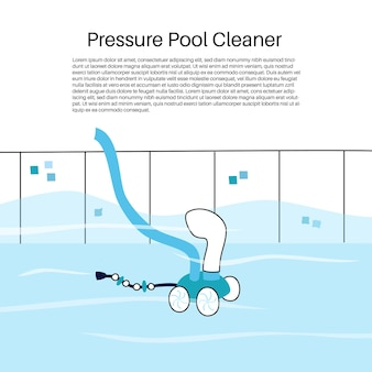 Vector ilustración aislada de la aspiradora de tipo presión automatizada de piscina