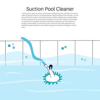 Vector ilustración aislada de la aspiradora de tipo de succión automatizada de piscina.