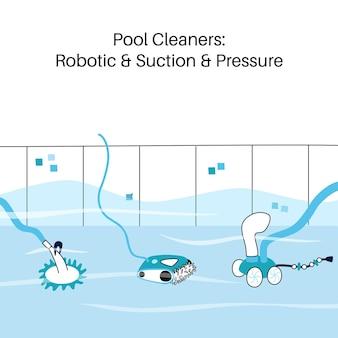 Vector ilustración aislada de las aspiradoras automáticas de piscina. robótica, presión