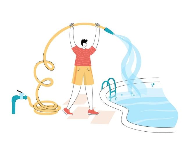 Vector ilustración aislada de hombre llenando la piscina con agua que fluye de la manguera.