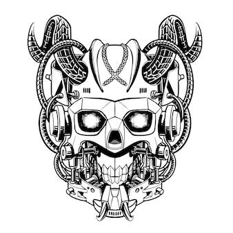 Vector de ilustración antigua de línea arte blanco y negro mecha head