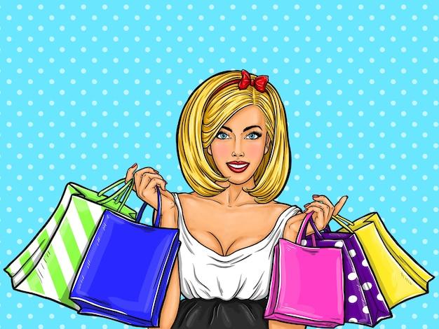 Vector ilustración de arte pop de una joven feliz sexy celebración de bolsas de la compra.