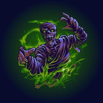 El vector de ilustración de ataque de momia