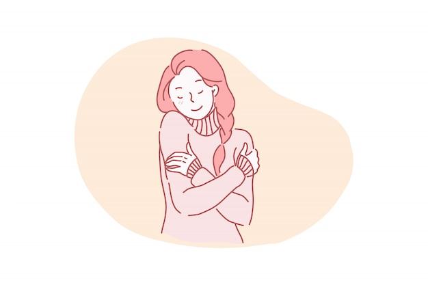 Vector ilustración atractiva, encantadora, bien arreglada hermosa, hermosa, gentil, tranquila alegre joven abrazando a sí misma.