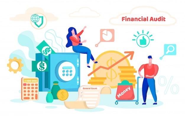 Vector ilustración de auditoría financiera de dibujos animados plana.
