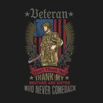 Vector de ilustración de bandera del grunge del ejército americano
