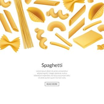 Vector ilustración de banner de tipos de pasta realista