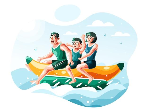 Vector de ilustración de barco de banana de montar a la familia