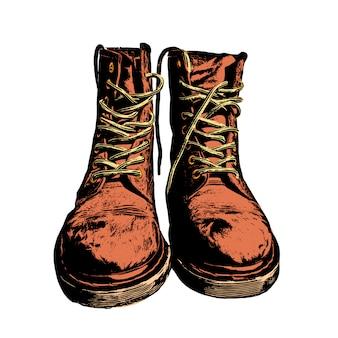 Vector de ilustración de botas con estilo militar de cuero fresco