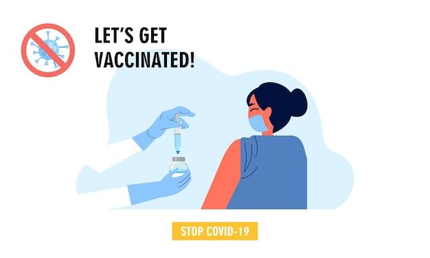 Vector de ilustración de campaña de vacunación plana