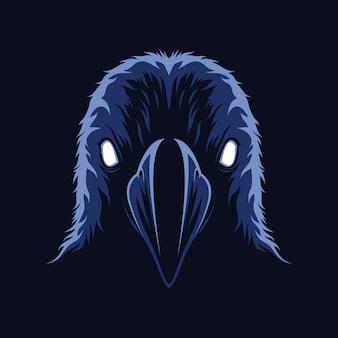 Vector de ilustración de cara aterradora de cuervo