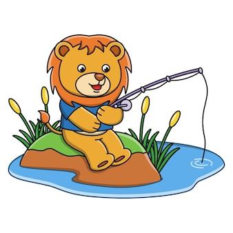 Vector, ilustración, de, caricatura, león, pesca, pez, en, un, río