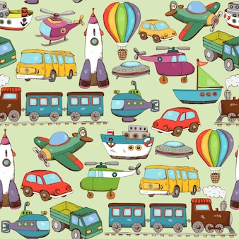Vector, ilustración, caricatura, transporte, seamless, patrón