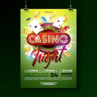 Vector ilustración de cartel de noche de casino con diseño de juego