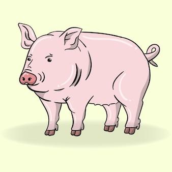 Vector y ilustración de cerdo de dibujos animados