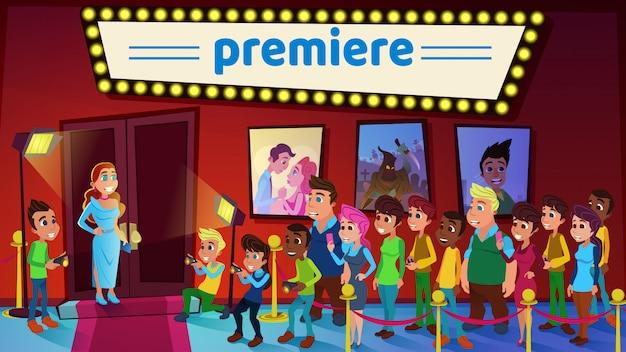 Vector ilustración cine estreno de dibujos animados plana.