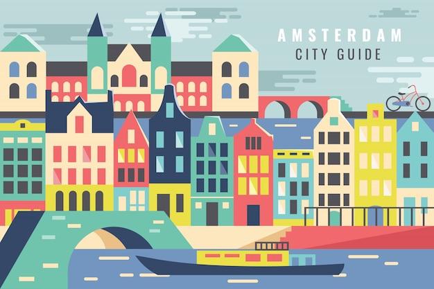 Vector ilustración ciudad en amsterdam tour