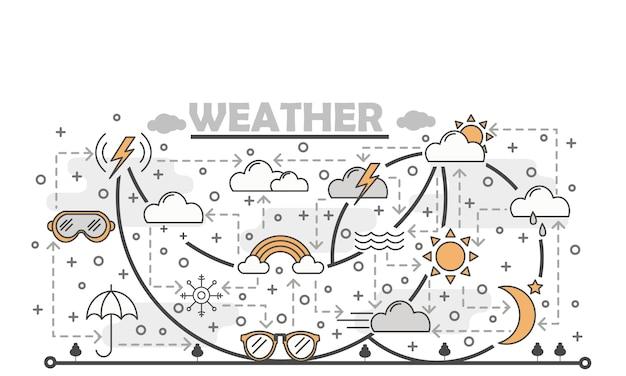 Vector ilustración de clima de arte de línea delgada
