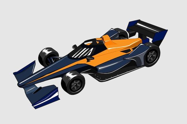 Vector de ilustración de coche deportivo de indy car acelerando f1 racing f1
