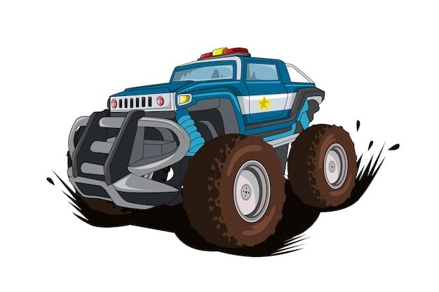El vector de ilustración de coche monstruo de la policía