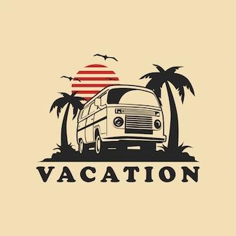 Vector de ilustración de coche de vacaciones de verano