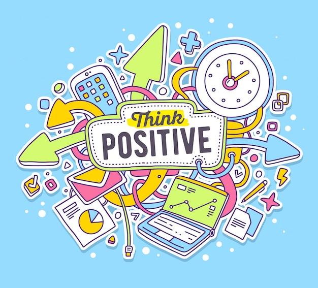 Vector ilustración colorida de objetos de oficina con texto sobre fondo azul. piensa en un concepto positivo.
