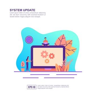 Vector ilustración concepto de actualización del sistema