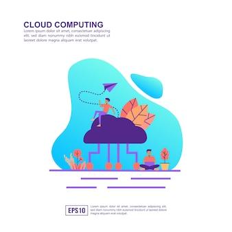 Vector ilustración concepto de cloud computing