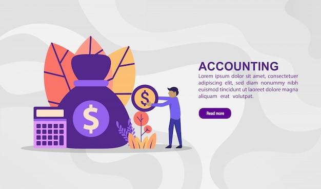 Vector ilustración concepto de contabilidad. ilustración moderna conceptual para plantilla de banner