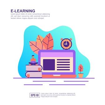 Vector ilustración concepto de e aprendizaje
