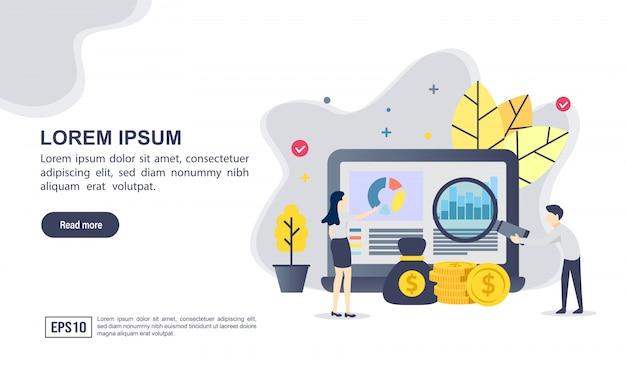 Vector ilustración concepto de financiera con carácter