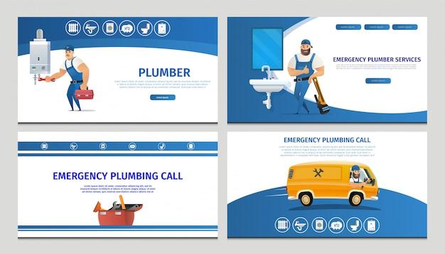 Vector ilustración concepto página servicio de fontanería