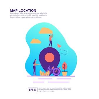 Vector ilustración concepto de ubicación en el mapa
