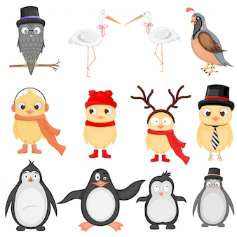 Vector ilustración conjunto de divertidos animales exóticos