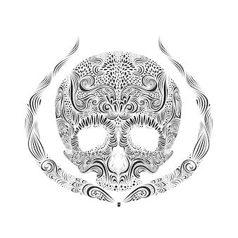 Vector ilustración de cráneo de tatuaje blanco y negro