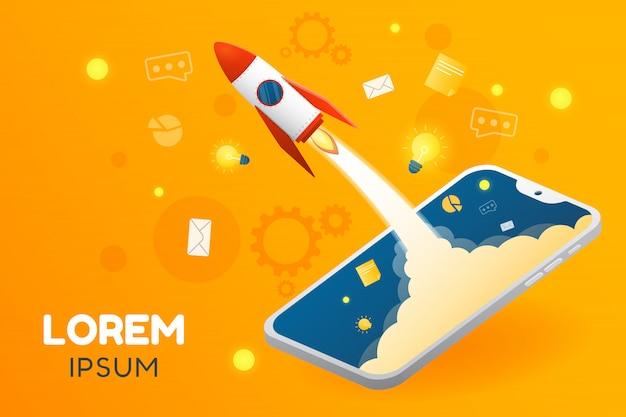 Vector ilustración creativa de inicio de aplicación o negocio