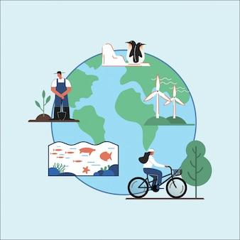 Vector de ilustración del día de la tierra