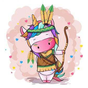 Vector ilustración dibujada a mano de un lindo unicornio