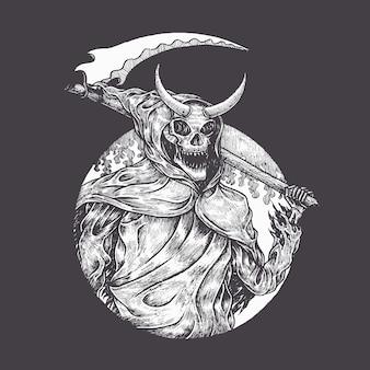 Vector de ilustración dibujada mano reaper sonriente