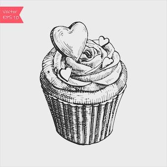 Vector ilustración de dibujo en blanco y negro de lindo cupcake dulce cremoso.