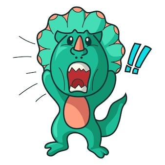 Vector ilustración de dibujos animados de dinosaurio enojado.